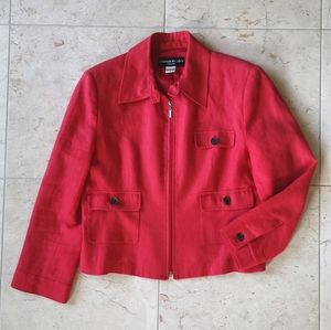 Bianca Nygard summer linen blazer jacket red